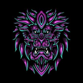 Illustrazione di re leone viola