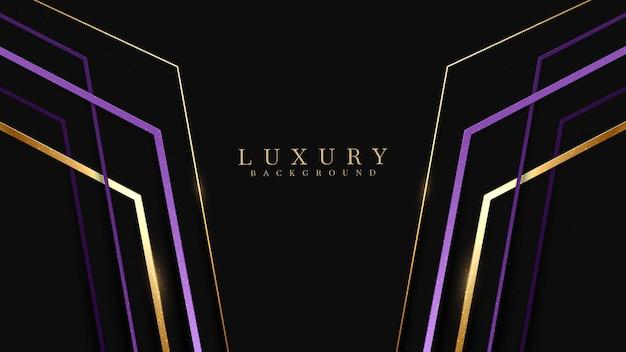 Copertina di lusso viola con linee dorate scintillanti. stile di design moderno ed elegante dello sfondo. modello di illustrazione vettoriale di concetto creativo.