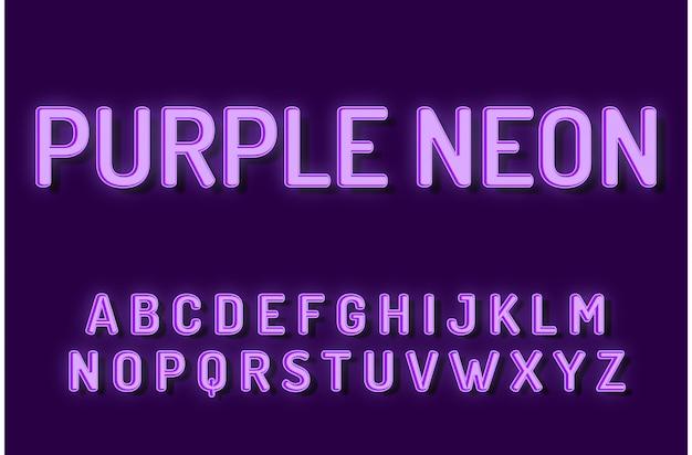 Effetti di testo di alfabeto di carattere al neon viola