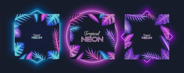 Cornice al neon viola con banana tropicale, piante di monstera, foglie di palma, illustrazione vettoriale isolata. colori fluorescenti piante esotiche giungla foglie bordi.