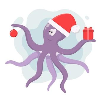Polpo viola in cappello di babbo natale con palla di natale e regalo in tentacoli