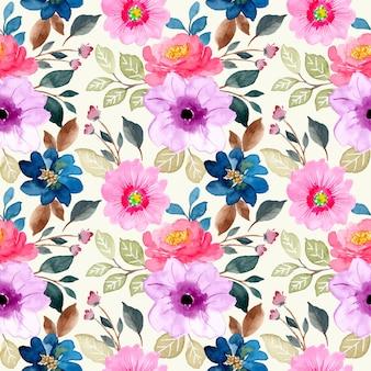 Modello senza cuciture dell'acquerello floreale rosa porpora Vettore Premium