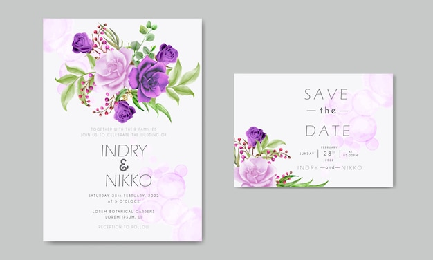 Carta di invito matrimonio acquerello rosa viola e rosa