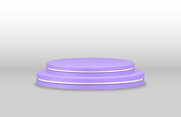 Podio viola piedistallo realistico per i vincitori piedistallo e cilindro del palco del supporto della piattaforma