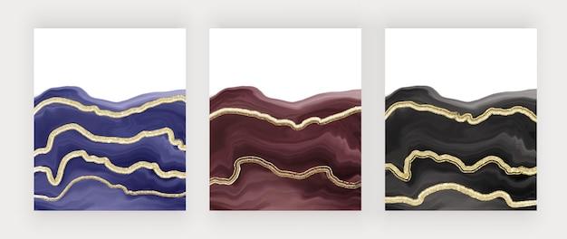 Sfondi acquerello pennellata viola rosso e nero con linee glitter