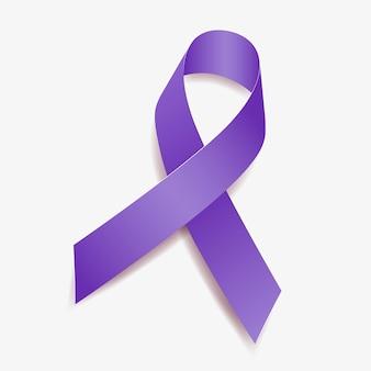 Consapevolezza del nastro viola malattia di alzheimer, dolore cronico, fibrosi cistica, violenza domestica, epilessia, cancro al pancreas. isolato su sfondo bianco. illustrazione vettoriale.