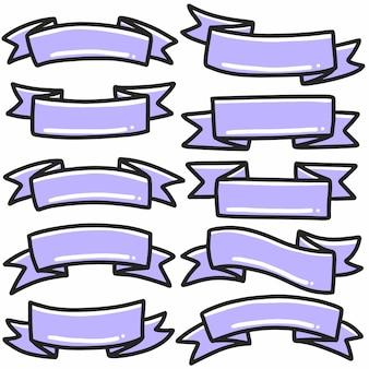 Elemento di arte e design doodle disegnato a mano banner icona nastro viola