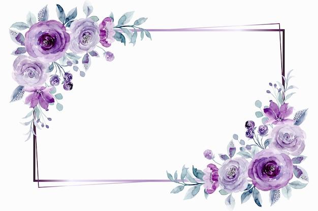 Cornice fiore rosa viola con acquerello