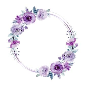 Corona di fiori di rose viola con acquerello