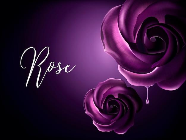 Elementi di rose viola, elementi floreali decorativi su sfondo viola nell'illustrazione