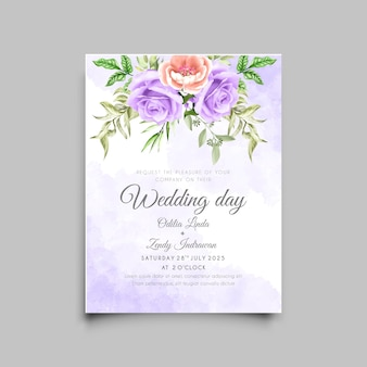 Modello di carta di invito matrimonio acquerello rose viola