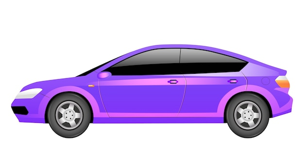 Illustrazione di cartone animato berlina viola oggetto di colore piatto veicolo futuristico auto elettrica viola trasporto contemporaneo automobile ibrida color magenta isolato su sfondo bianco