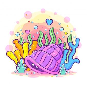 Le conchiglie viola con gli occhi piccoli si nascondono nella barriera corallina