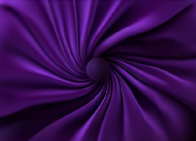 Tessuto di seta viola. sfondo astratto illustrazione 3d tessuto vorticoso realistico con pieghe e tende.
