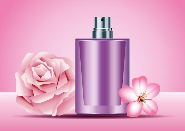 Prodotto in bottiglia spray per la cura della pelle viola con illustrazione di fiori rosa