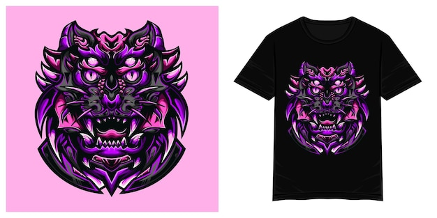 Illustrazione della maglietta di vettore del mostro della tigre viola