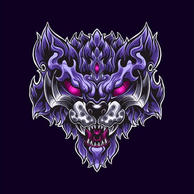 Illustrazione viola della mascotte del logo del guerriero della tigre