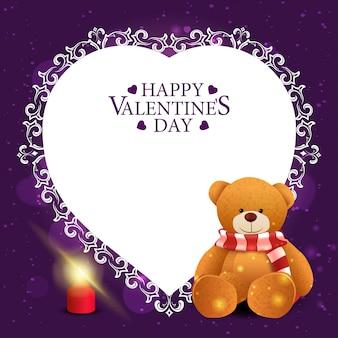 Cartolina d'auguri viola di san valentino con l'orsacchiotto
