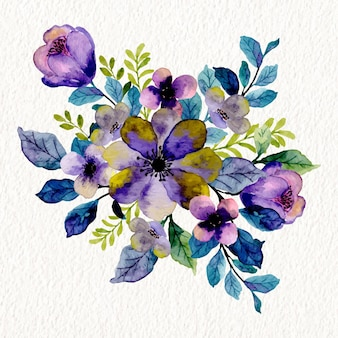 Bouquet floreale viola viola con acquerello