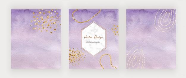 Carte viola pennellate ad acquerello con coriandoli glitter oro e cornice esagonale in marmo.