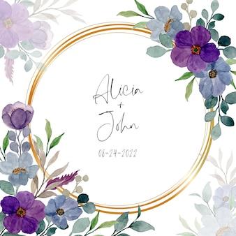 Acquerello viola floreale con cornice dorata