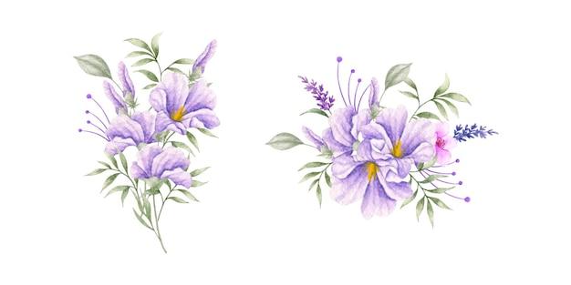 Set di bouquet di fiori e foglie primaverili viola selvatici