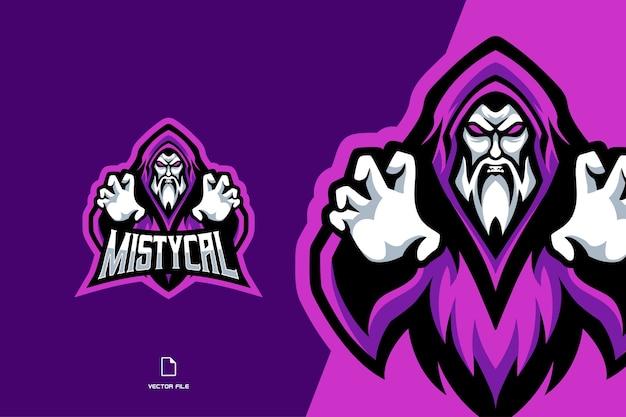 Modello di logo sportivo mascotte mago viola