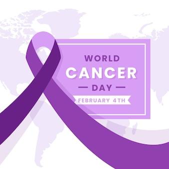 Nastro viola della giornata mondiale del cancro sulla mappa del mondo