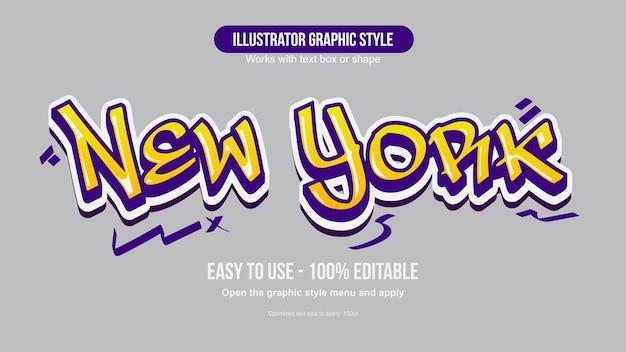 Effetto di testo in stile graffiti viola e giallo