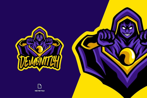 Illustrazione del modello di logo del gioco di sport della mascotte del mago giallo viola