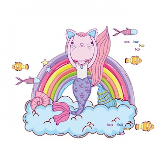 Purrmaid con nuvole e arcobaleno sottomarino