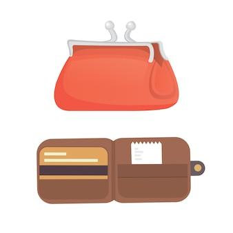 Borsa e portafoglio in design piatto