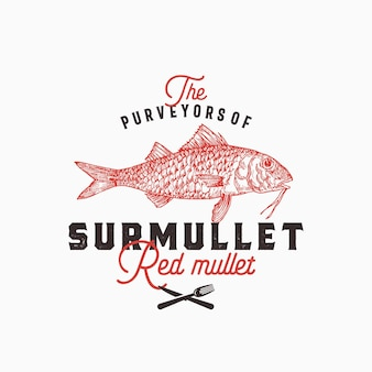 Fornitori di modello di logo di surmullet. pesce triglia disegnato a mano con tipografia retrò di classe
