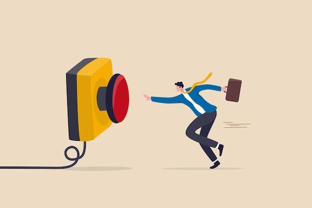 Pulsante chiamata per aiuto di emergenza, controllo o lancio di razzi, avvio di una nuova attività o lancio di un concetto di azienda, uomo d'affari cauto che corre di fretta per premere il pulsante di emergenza rosso