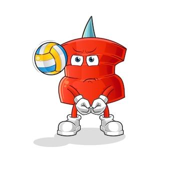 Push pin giocare a pallavolo mascotte. cartone animato