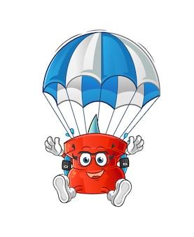 Spingere il personaggio di paracadutismo pin. mascotte dei cartoni animati