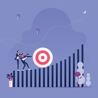 Spingendo l'obiettivo in cima al grafico a barre. business conquer concetto di avversità