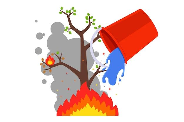 Spegni il fuoco con un secchio d'acqua. incendi boschivi in estate. piatto