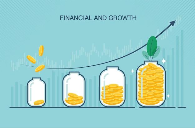 Mettere monete d'oro in una bottiglia di vetro trasparente in un appartamento adatto per attività di crescita o finanziarie