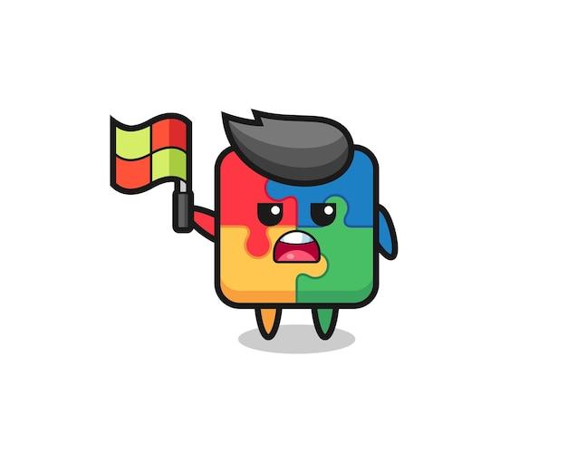 Personaggio puzzle come giudice di linea che alza la bandiera, design in stile carino per maglietta, adesivo, elemento logo