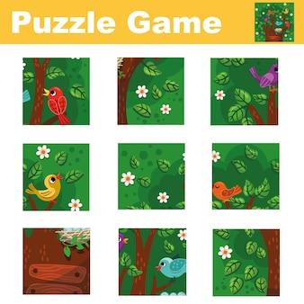 Puzzle per bambini con uccelli e un albero abbina i pezzi e completa l'immagine