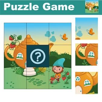 Puzzle per bambini con un simpatico gnomo trova il pezzo mancante