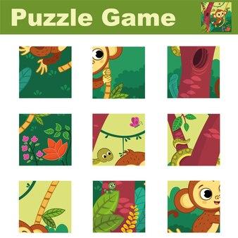 Puzzle per bambini con una simpatica scimmietta abbina i pezzi e completa l'immagine