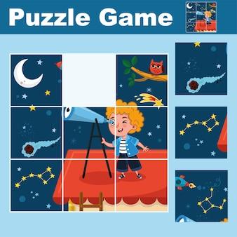 Gioco educativo puzzle per bambini in età prescolare trova il pezzo mancante illustrazione vettoriale