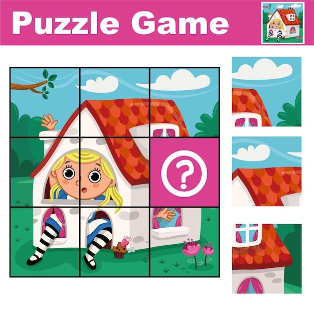 Gioco educativo puzzle per bambini in età prescolare trova il pezzo mancante