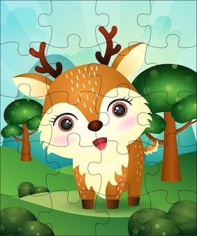 Illustrazione di gioco di puzzle per bambini con cervi carino