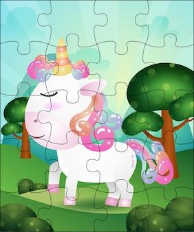 Illustrazione di gioco di puzzle per bambini con unicorno carino