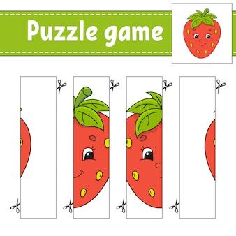 Gioco di puzzle per bambini. berry strawberry. pratica di taglio.