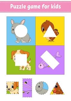 Gioco di puzzle per bambini. taglia e incolla.