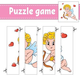 Gioco di puzzle per bambini. pratica di taglio. foglio di lavoro per lo sviluppo dell'istruzione. san valentino.